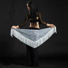 Triangle Sequin Belly Dance Hip Scarf Wrap Skirt Tassel Waist Chain for Dancer Indian Dance Belt Waistband 89