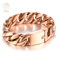 VCOOL 18mm Wide High Polished Rose Gold Double Cuban Curb Link 316L Stainless Steel Bracelet Mens
