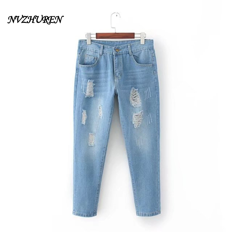 NVZHUREN Ripped Hole Jeans For Women European Style Ladies Stretch Denim Jeans Elastic Harem Pants Casual Female Jeans 5XL