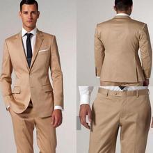 new champagne tux Modern Golden Satin Notch Lapel Groom Tuxedos Men formal evening Wedding Suits Suits men (jacket+pants+tie)
