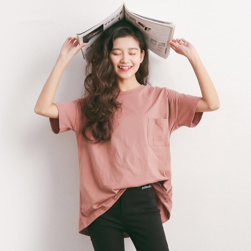 DHfinery léto Loose tričko Dámské tričko s krátkým rukávem jednobarevné O-neck Příležitostná trička dívky Candy color Loose T shirt A606