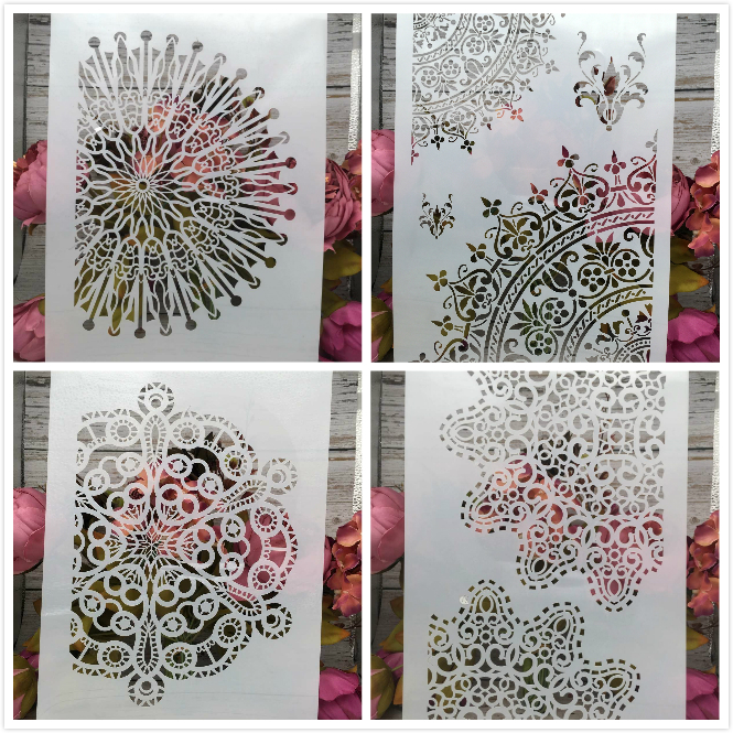 4Pcs/Lot A4 Circle Floral Flower DIY Layering Stencils Painting Scrapbook Coloring Embossing Album Decorative Card Template