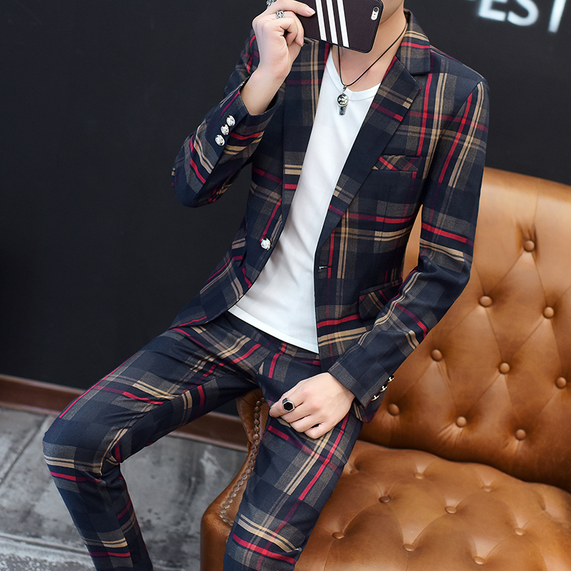 European Station New Polyester Men's Small Suit Suit Youth Casual Business Slim Trend Men's Plaid Suit Two-piece