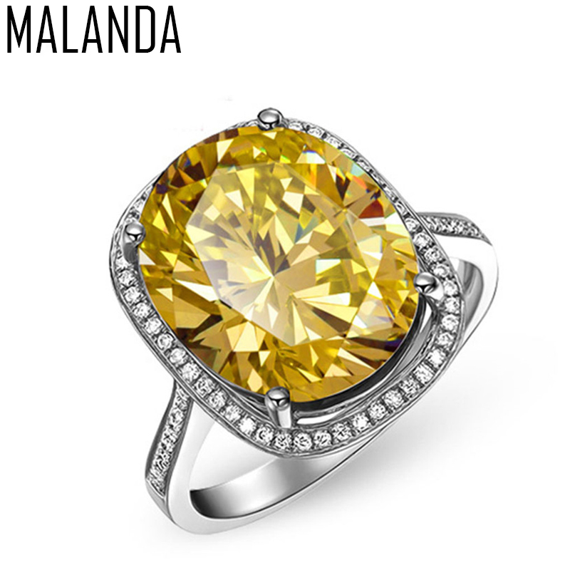 MALANDA Brand Fashion Big Yellow Crystal from Swarovski Cubic Zircon Silver Luxury Rings ...