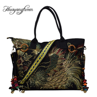 2018 New Canvas Embroidered Women Bag National Characteristics Single Messenger Bag Women S Fashion Leisure Bag