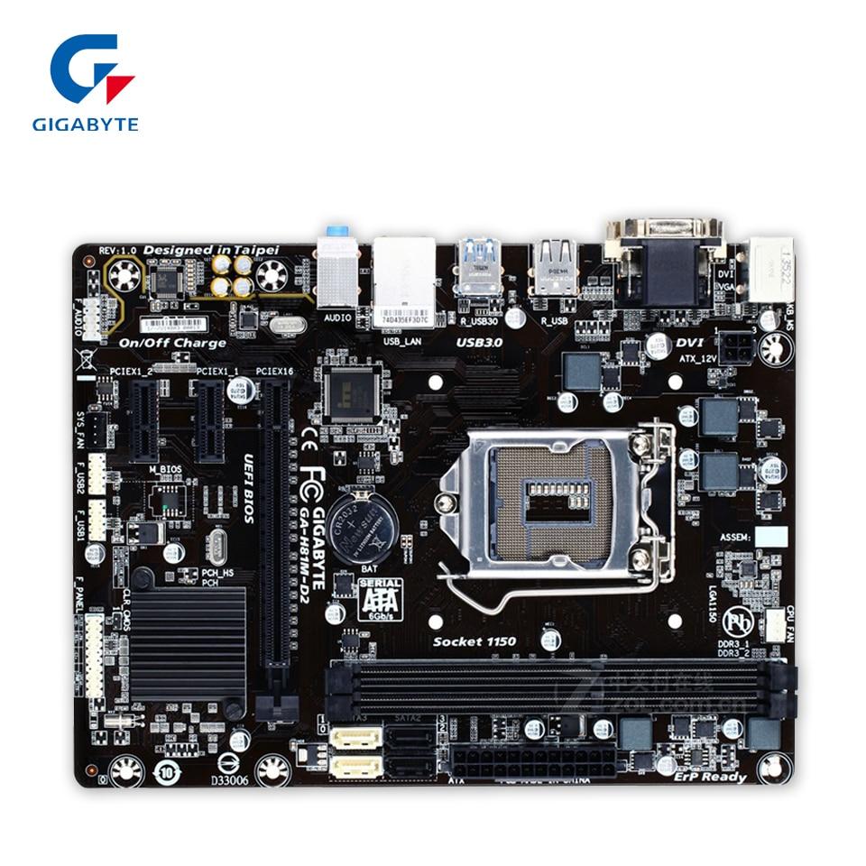 Gigabyte GA-H81M-D2 Original Used Desktop Motherboard H81M-D2 H81 LGA 1150 i3 i5 i7 DDR3 16G SATA3 Micro-ATX asus original ga h81m hd3 motherboard h81 ddr3
