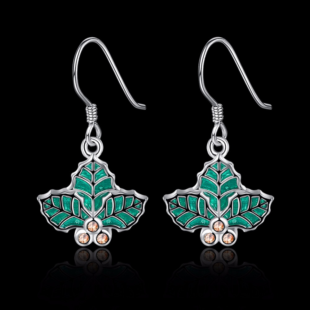 Hanging Green Leaf Earrings With Enamel Sweet Christmas Costume Earing For  Women New Year Gift Brincos