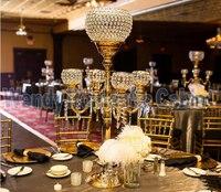Золотой канделябры Цветочный Стенд Свадебный центральным свадебный реквизит Кристалл Таблица Центральным