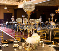 Gold Candelabras Flower Stand wedding Centerpiece Wedding Props crystal table centerpiece