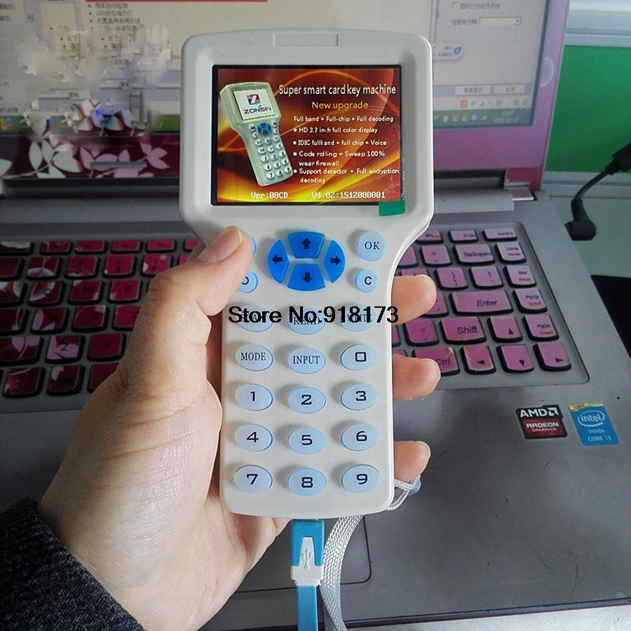 Inglês super handheld rfid nfc copiadora leitor escritor cloner 9 freqüência + 5 pces 125khz cartão 5 pces 13.56mhz uid mutável cartão