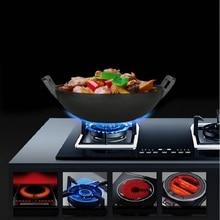 Eisen wok ohne beschichtung dicke eisen antihaft pfanne 36 cm manuelle Vintage eisen gusseisen topf