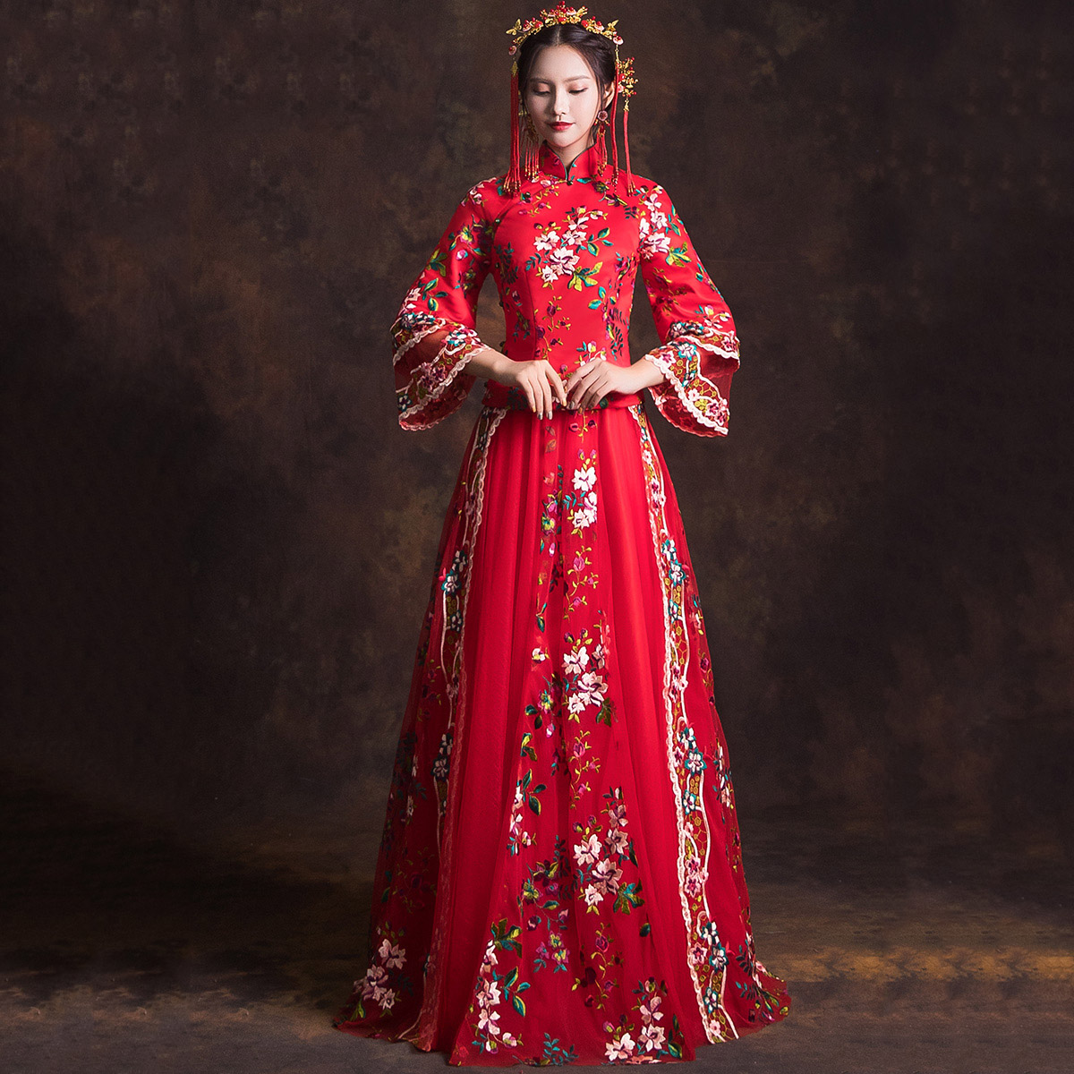 Vintage Chinese Style Cheongsam Embroidery Flower Mesh Dress Toast Clothing Elegant Qipao Full Length Exquisite Evening Gowns