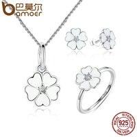 BAMOER 100 925 Sterling Silver Jewelry Set Primrose Flower White Enamel Jewelry Sets Sterling Silver Jewelry