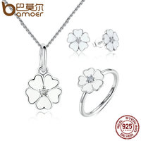 BAMOER 100 925 Sterling Silver Jewelry Set Primrose Flower White Enamel Jewelry Sets Sterling Silver Jewelry