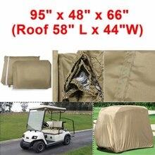 """Водонепроницаемый 2 пассажира автомобильный детектор гольф-карт Защитная крышка устойчивая к ультрафиолетовому излучению для двух легковых клубных автомобилей таупе 9"""" x 48"""" x 66"""""""