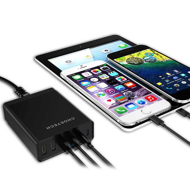 USB Tipe C Charger untuk Nexus 5X/6 P, choetech 55 Watt Multi USB Pengisian Stasiun dengan Pemegang untuk iPhone Ponsel Charger