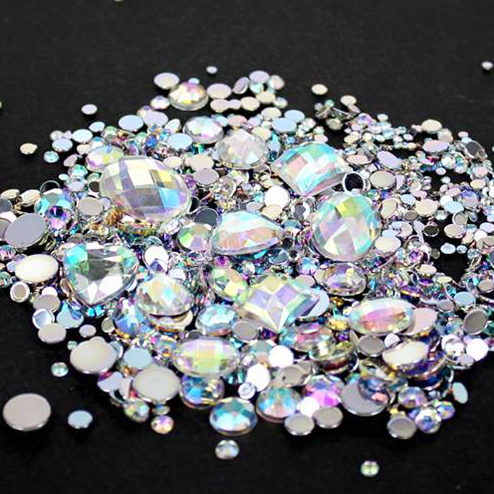 Crystal AB Mixed Sizes 1000pcs Round Acrylic Loose Flatback Rhinestones Nail Art Crystal Stones For Wedding Clothing Decoration