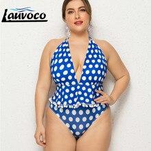 Plus Size Swimwear One Piece Bathing Suit Dotted High Cut Thong Swimsuit Women Beachwear Big 5XL Monokini Lace Up
