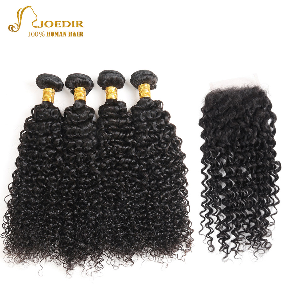 Joedir Indian Curly Hair Bundles with Closure Free Part Lace Closure with Hair Bundles Natural Color Human Hair with Closures