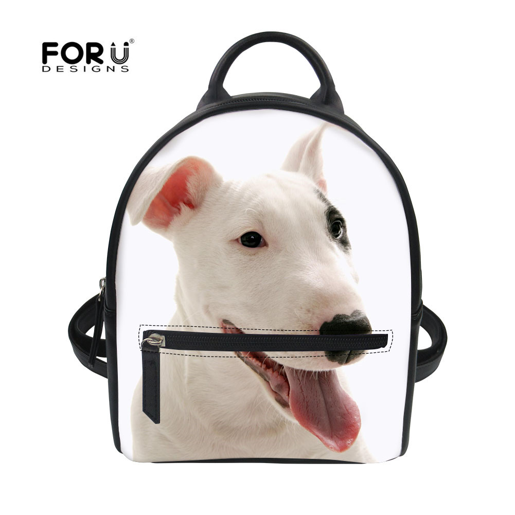 FORUDESIGNS Women Pu Backpack Terrier terrier Printing Leather Daypack Female Pet Dog New Girls School Bags for Teenager Mochila