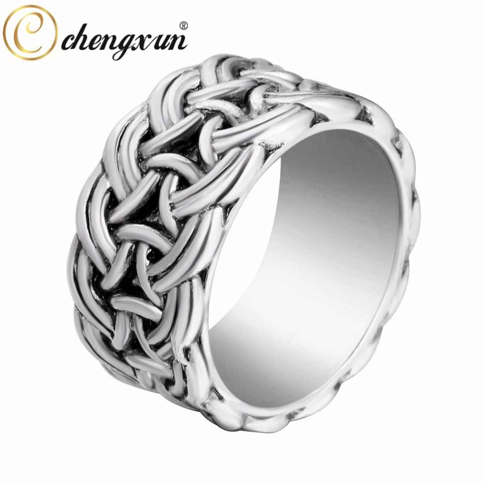 CHENGXUN Ancient Infinite Twisted Wide Fashion Rings Norse Viking Mens Finger Ring Scandinavian Norse Jewelry Party Gift