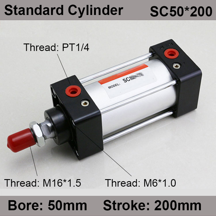 SC50*200 SC Series Standard Air Cylinders Valve 50mm Bore 200mm Stroke SC50-200 Single Rod Double Acting Pneumatic Cylinder sc32 175 sc series standard air cylinders valve 32mm bore 175mm stroke sc32 175 single rod double acting pneumatic cylinder