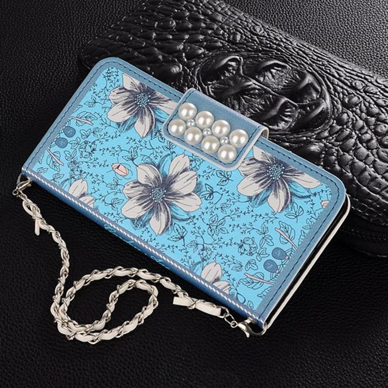 Chain Pearl Blue Leather Case Flip Card Slot Wallet Phone Cover Coque Fundas Capa Para For iphone 5 5S SE 6 6S Plus 7 Plus
