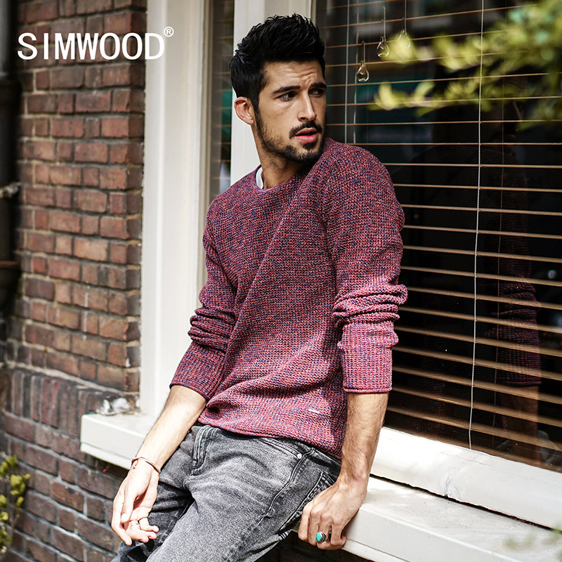 SIMWOOD Brand Sweater Men 2018 autumn Winter New Sweater Men Casual Knitted Pullover Men Slim Fit Plus Size Pullover MT017033 giraffe flat knitted pullover sweater