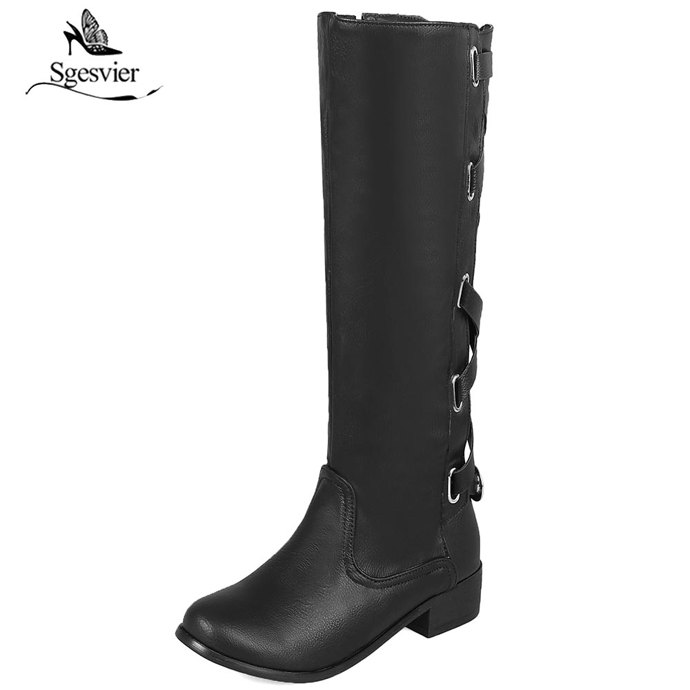 Sgesvier Winter Occident Cross Strap Buckle Gladiator Mid Calf Knight Boots Chunky Heel Ladies Riding Boots Shoes Brown B756