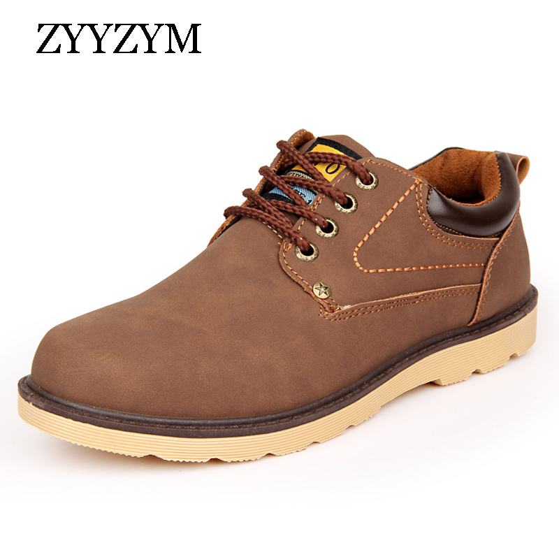 2016 Hot Sale Man Autumn Winter Shoes Leather Men Ankle Boot Fashion Casual Shoe Lace-up Round Toe Safety Work Martin Boots
