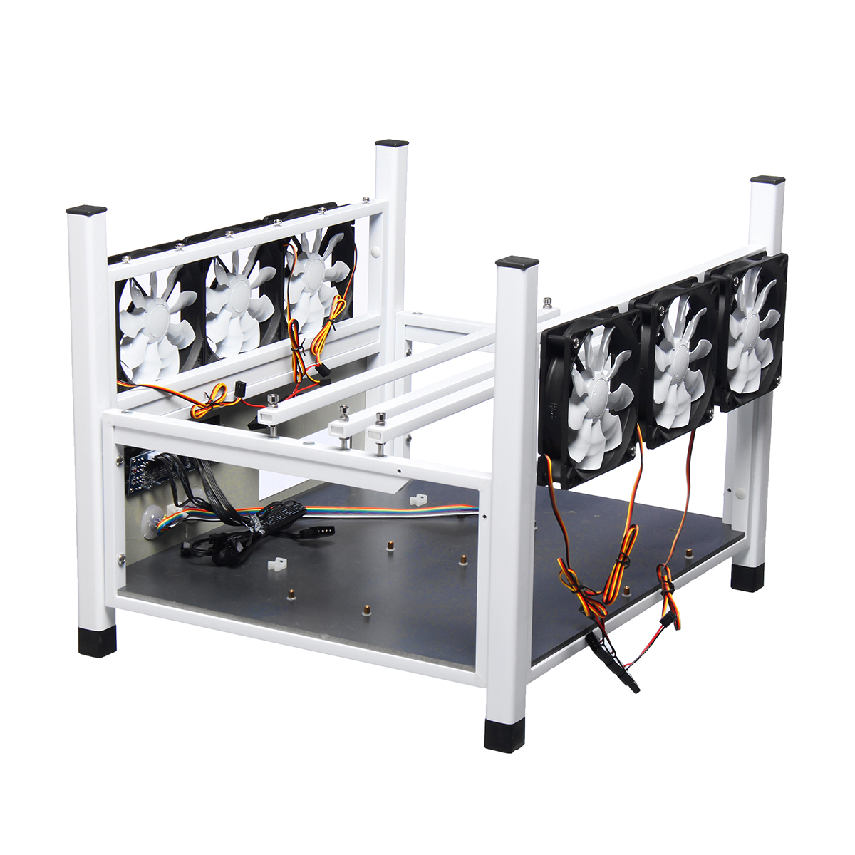 BX36 6GPU Miner Frame 6 Fans Deluxe Ediction Standard Fan Open Air Coin Miner Minning Ca ...