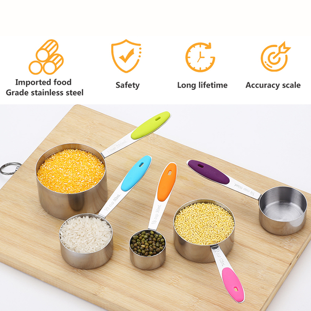 Stainless Steel and Silicone Measuring Cups and Spoons Set