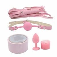 YEMA 5PCS/Set Pink Color Sex Bondage Mouth Gag Whip Candle Bondage Tape Anal Plug Sex toys for Couples Adult Sex Games