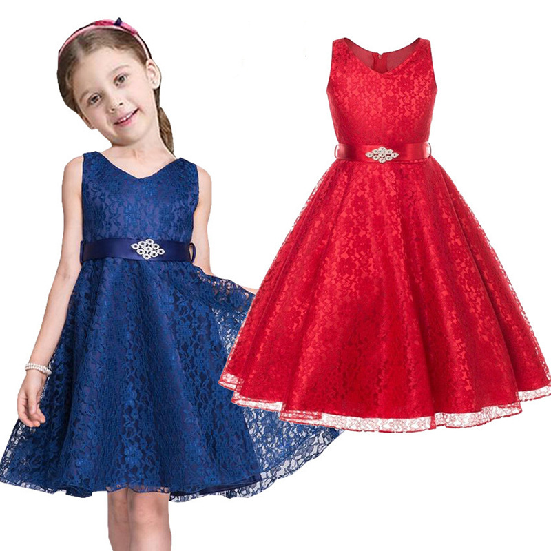 Cute Lace Princess Dress Florals Children Clothin Wedding Flower Girls Dresses Bowkont Solid Kids Long Dress Fashion Gifts 4-10T