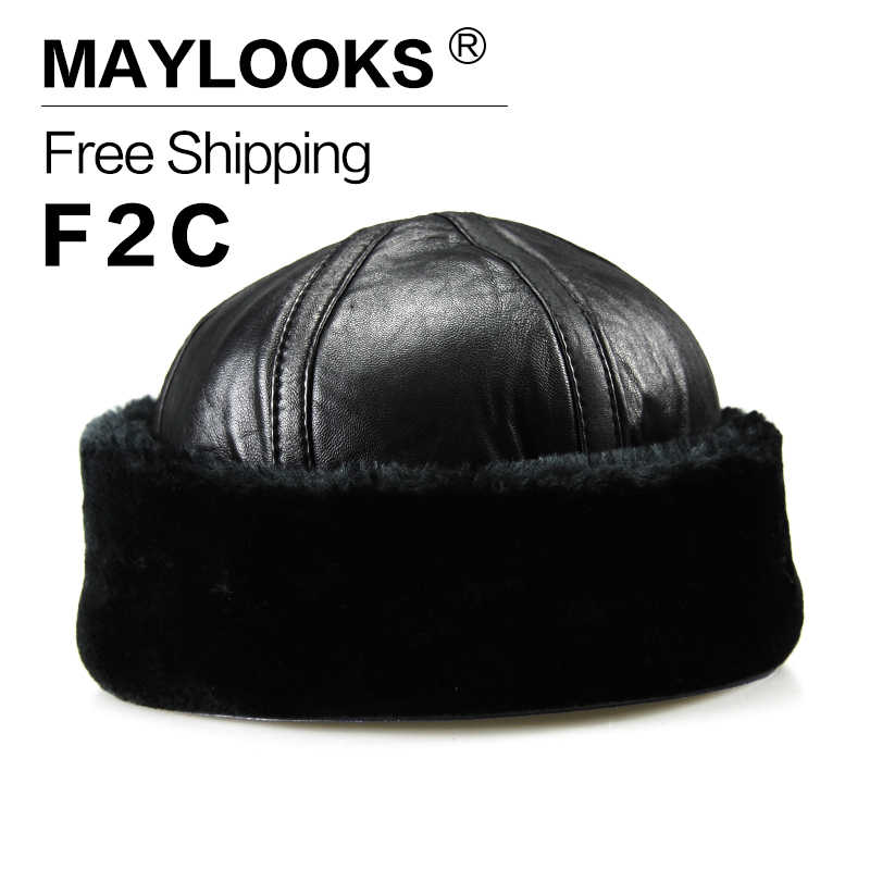 c839f5cbc0b 2018 Adult Fur Sale Maylooks New Arrival Genuine Leather Men s Army Cap Hat  For Man Military