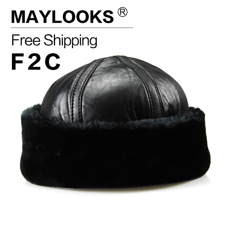 2018 Adult Fur Sale Maylooks New Arrival Genuine Leather Men's Army Cap Hat For Man Military Hats/caps Winter Warm Bomber Cs28 шина goodyear efficientgrip 235 45 r17 94w лето