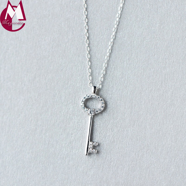 925 sterling silver necklace pendants original design key necklace 925 sterling silver necklace pendants original design key necklace long chain simple fashion jewelery d1669 mozeypictures Images