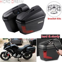 2pcs Motorcycle Universal Side Case Saddlebag Rear Luggage Pannier Cargo Kits for Honda Triumph Kawasaki Z1000SX Versys 300/650