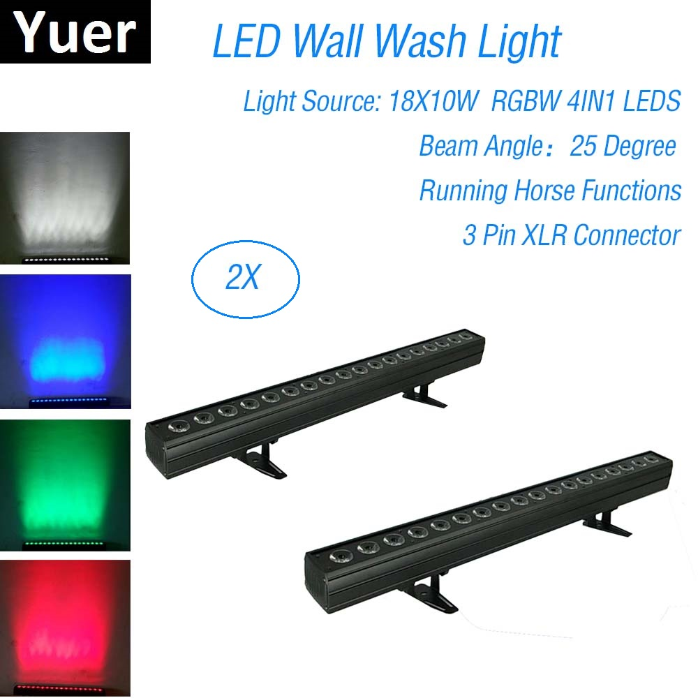 2Pcs/Lot 18X10W LED RGBW 4IN1 Wall Wash Light 9/23/72 Channels DMX 512 Bar Stage Dj Party