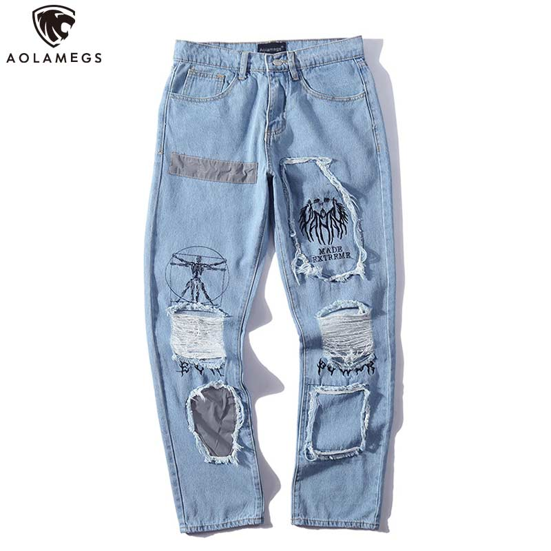 Aolamegs Biker Jeans Men Fashion Hole Denim Pants Mens Vintage Skinny Jeans Trousers High Street Style Jeans Streetwear Summer