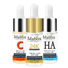 Mabox Face Retinol Serum+Six Peptides Serum Facial 24K Gold+