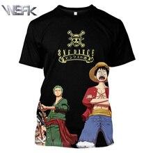 WSFK Mens Fashion Casual Sweatshirt One Piece Monkey D. Luffy Sports Short Sleeve 3D Anime Print T-Shirt