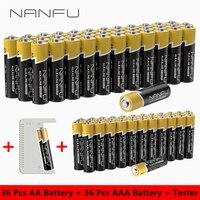 NANFU 72 шт. щелочной аккумулятор(36 аккумулятор aa + 36 аккумулятор aaa) с батарея тестер LR03 950 мАч LR06 2100 мАч 1.5 В 2A 3A акб комплект
