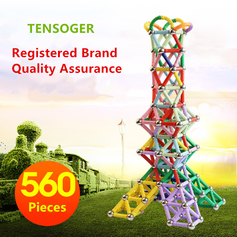 560 Pieces Tensoger Magnetic Block Building Sticks Childrens Educational DIY Toys Magnet ...