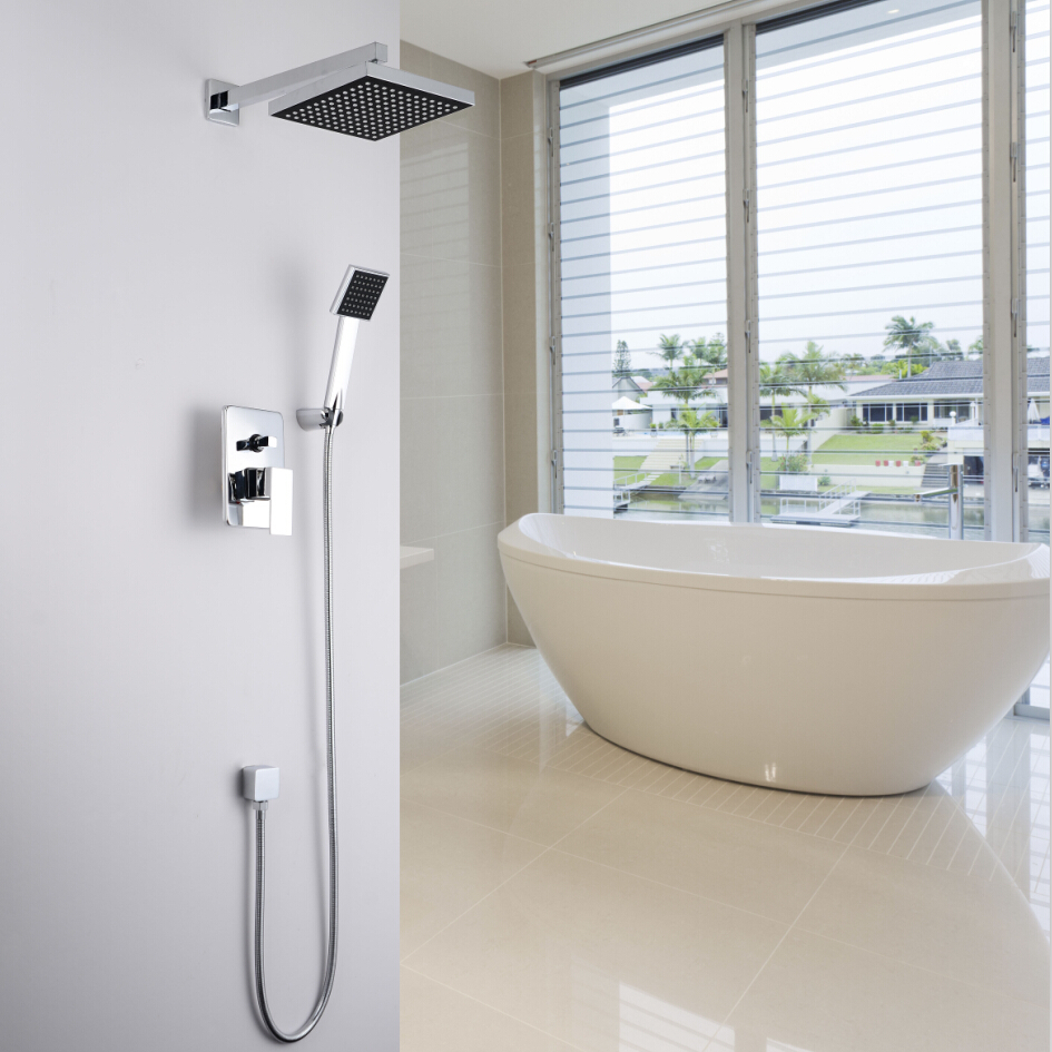 Aliexpress.com : Buy Concealed Shower Set. In Wall Shower Faucet. 8 Inch  (20 Cm) Square Rainfall Shower Head,Bath Tap Mixer With Hand Hold Sprayer  From ...