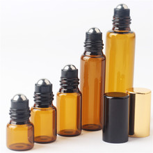 5 ps/lot 1ml 2ml 3ml 5ml 10ml Glass Roll on Bottle with Stainless Steel Roller Small Essential Oil Roller-on Sample