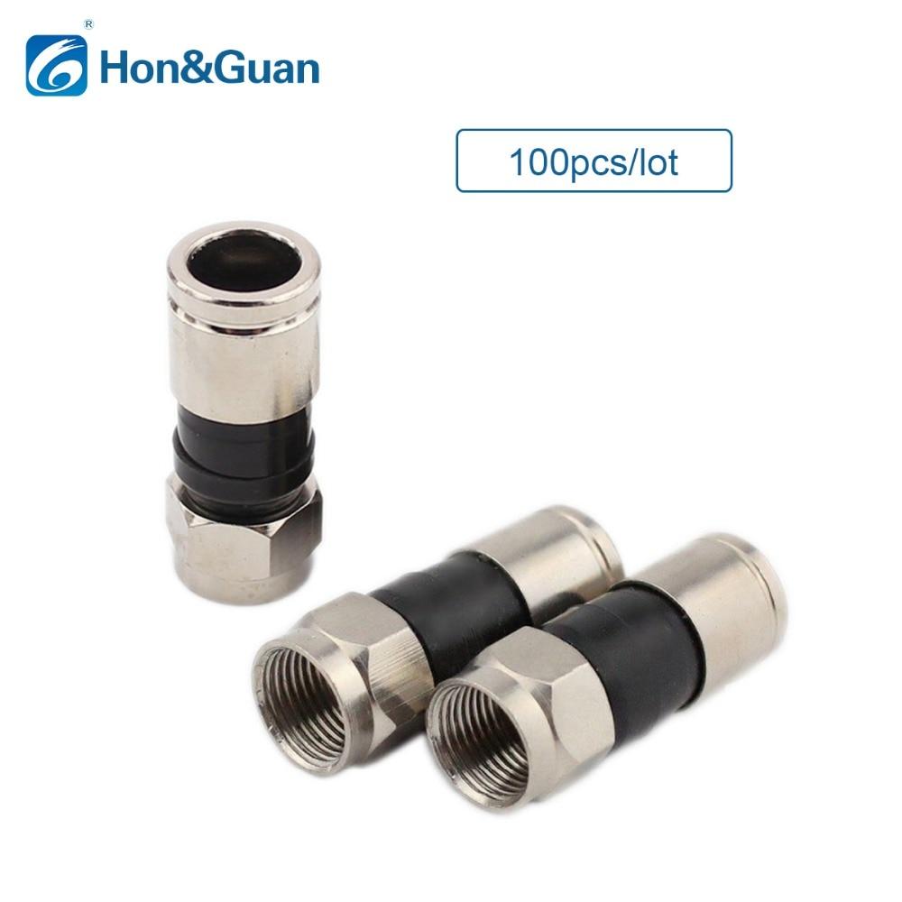 Hon&Guan 100pcs RG6 Coax Compression Cable Connector Coaxial RG-6 Coax Connector hon