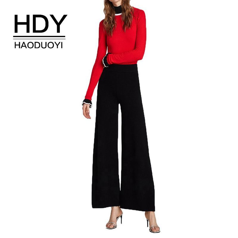 HDY Haoduoyi Women New Simple Casual Commuter Split High Waist Reveals Woven   Wide     Leg     Pants   Gothic Autumn Black White
