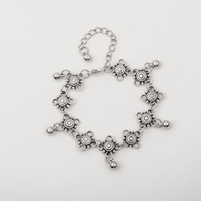 Antique Silver Bohemia Daisy Foot Chain Dangle Flower Ankle Bracelet Anklet Jewelry for Women
