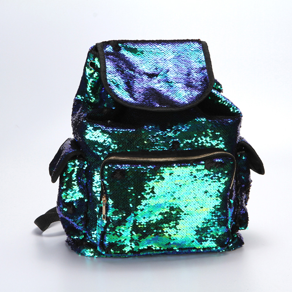 2017 Fashion School Backpack Double Color Sequins Girls School Bag Soft Backpack Fashion Bag Travel Bags
